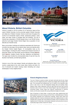 Victoria, BC Local Info Page Screenshot