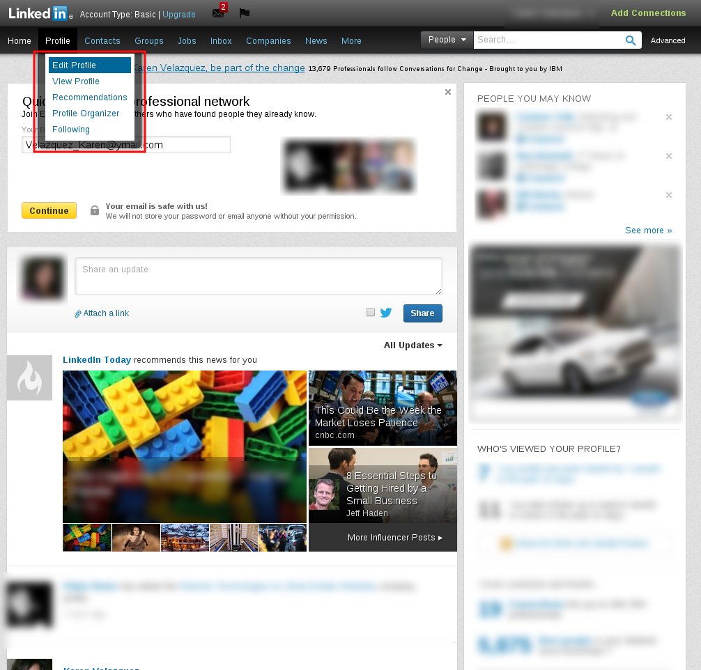 Edit profile LinkedIn